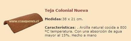 Comprar Teja Colonial Nueva