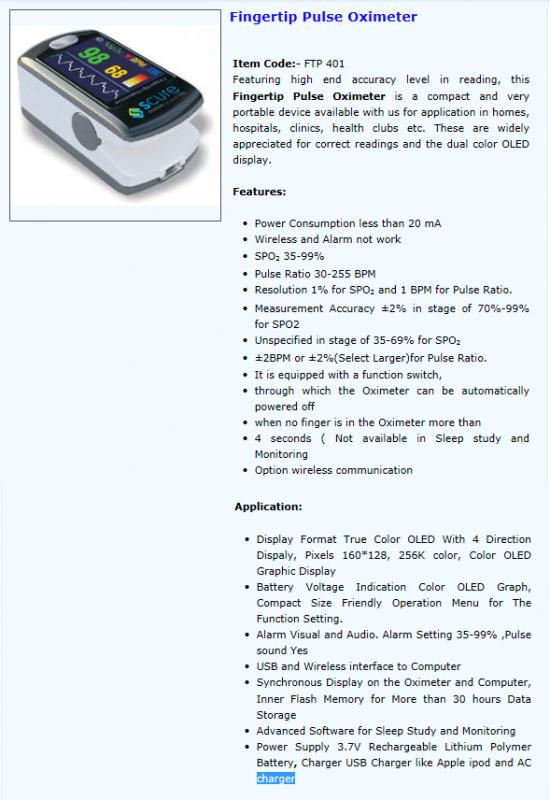 Comprar Oximetro de pulso de dedo FTP 401