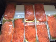 Salmon slice carpaccio ahumado