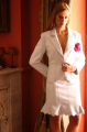 Conjunto de falda y blazer en nappa chiffon con blondas  y solapa perforadas